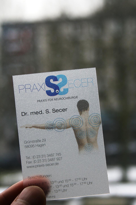 Praxis Secer Transparent Visitenkarte