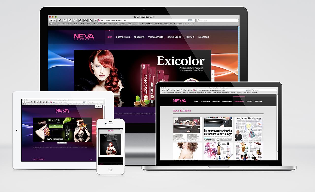 Neva Kosmetik Webdesign Vorschau