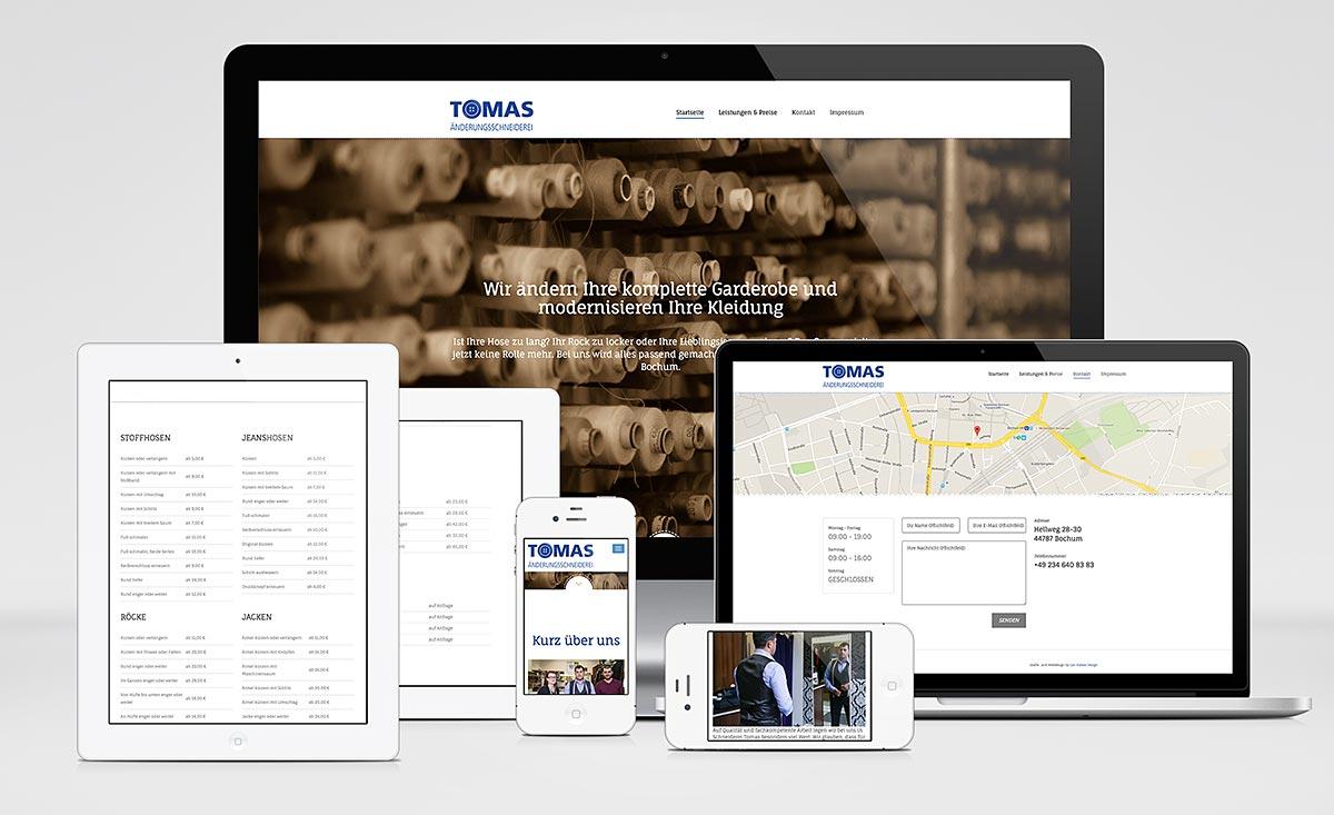 Tomas Änderungsschneiderei Webdesign Vorschau