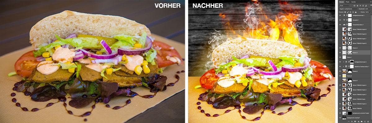 Vegan Döner vorher-nachher Bildbearbeitung