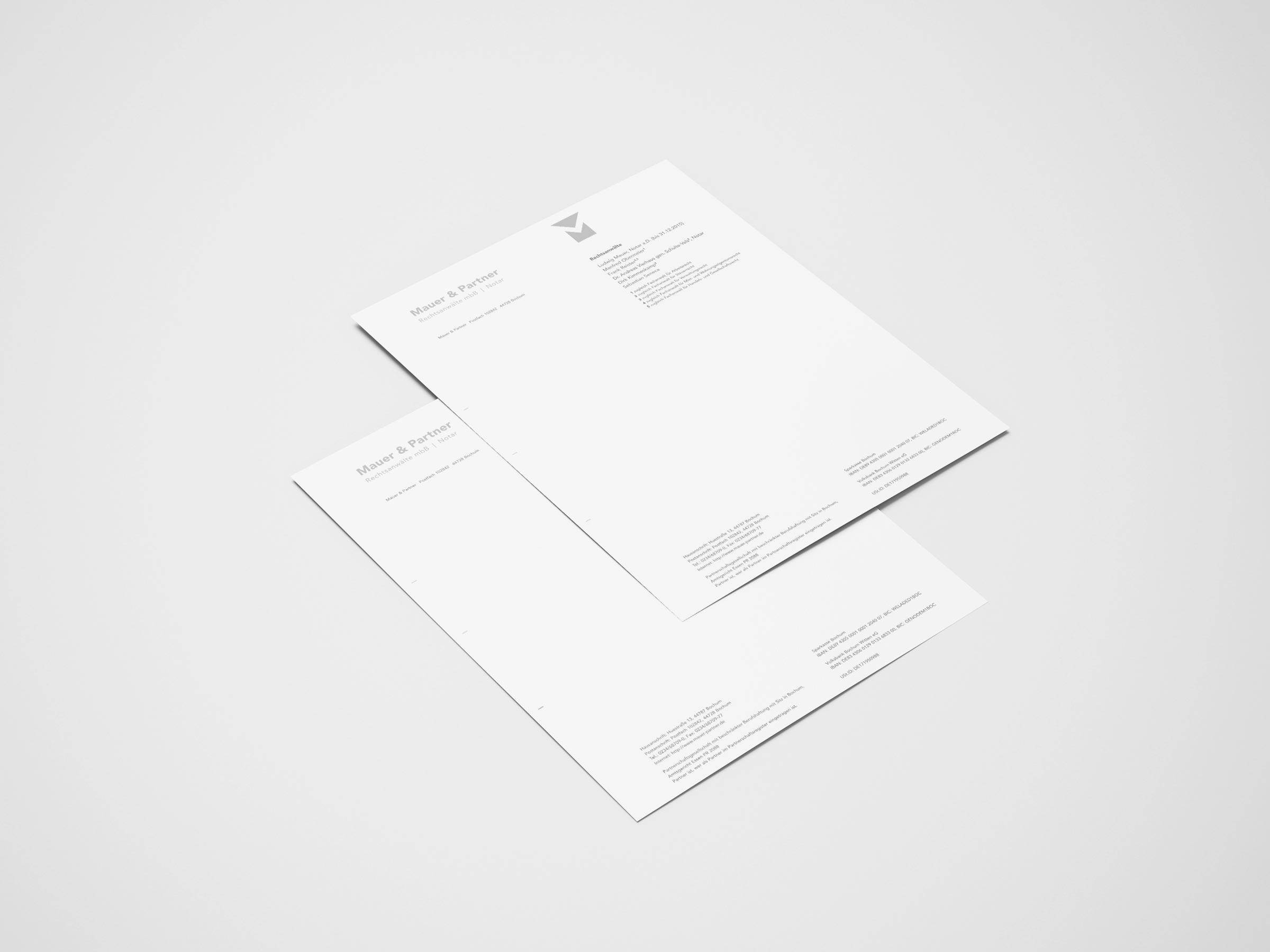 Mauer & Partner Briefkopf Designvorschau